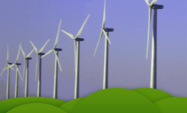 Energia eólica é exemplo de energia limpa (ilustração: Alan Corrêa)