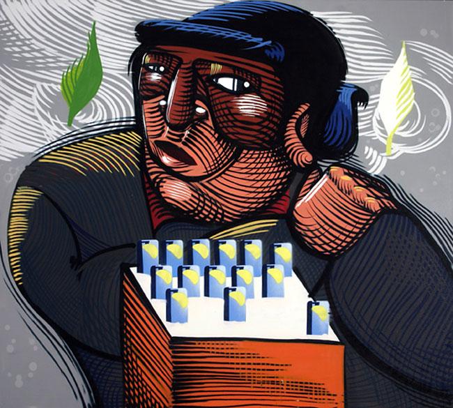 Em Ambulantes (2006), obra de aproximadamente 1,80m x 2,00 m, o artista Nunca retrata personagens que fazem parte do cenário urbano da capital de São Paulo (foto: divulgação)