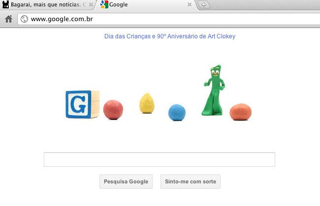 Art Clokey no Dia das Crianças do Google (reprodução)