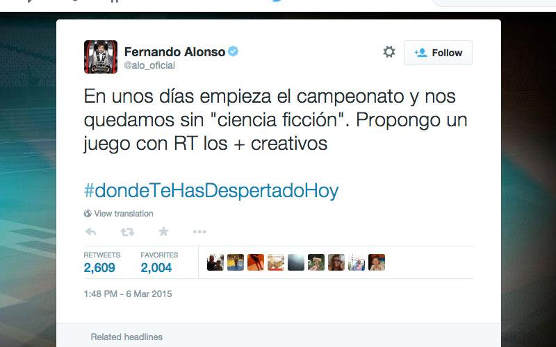Jornal publica perda de consciência de Alonso, piloto responde no Twitter