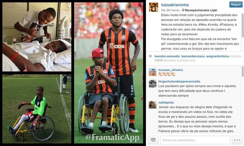 """Luiz Adriano defende irmão cadeirante que """"levantou"""" em gol do Inter na Libertadores"""