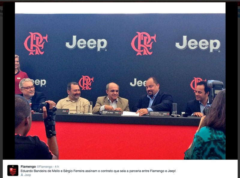 Jeep é nova patrocinadora do Flamengo