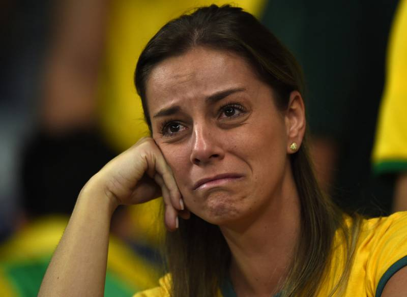 Torcedores após o jogo do Brasil contra a Alemanha pela semifinal da copa do mundo do Brasil em Belo Horizonte (foto: Bruno Domingos / Mowa Press)