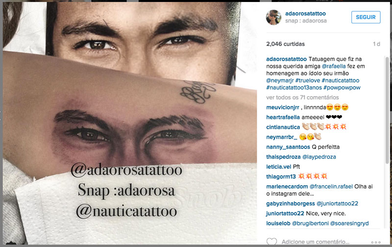 Tatuagem de Irmã do Neymar homenageia o craque (Foto: Reprodução/Instagram)
