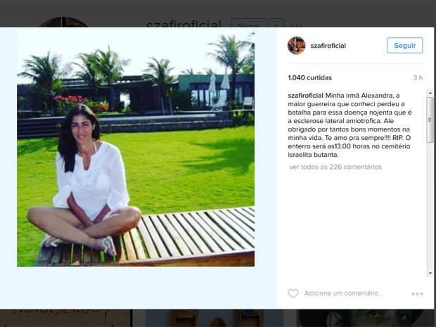 Irmã de  Luciano Szafir morreu em São Paulo