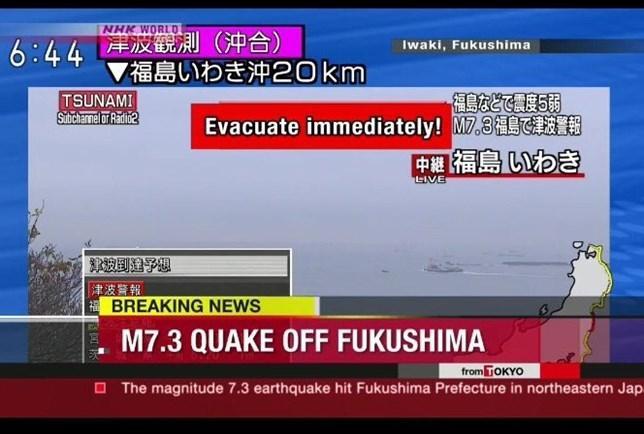 Fukushima sofre com terremoto de magnitude 7,3; alerta de tsunami