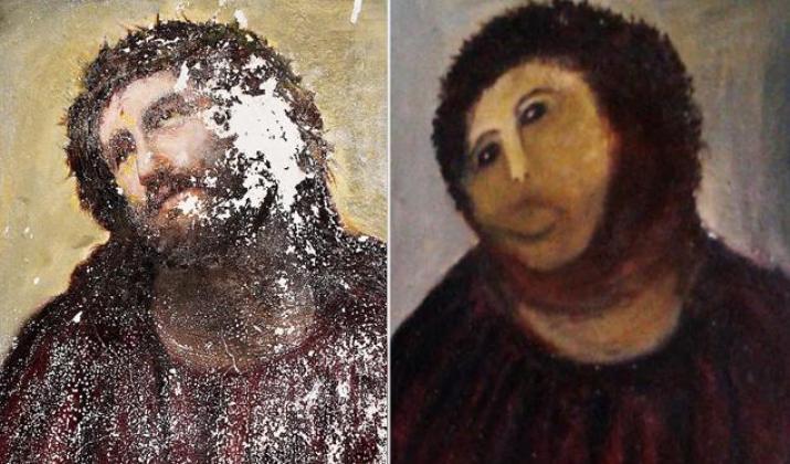 Restauração em imagem de Jesus Cristo gera polêmica